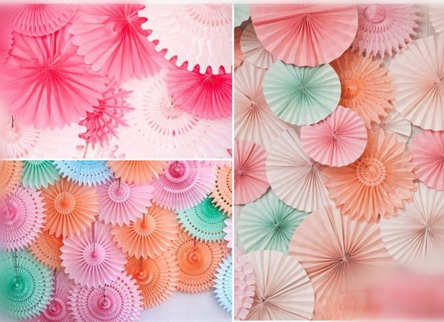 Decorative Crafts 30CM 1PCS Flower Origami Paper Fan Wedding Decoration Home Decorations Birthday Party Kids