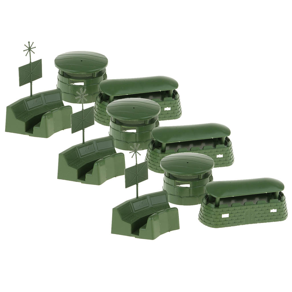 9PCS Military War Game Bunker Radar Model Playset Toy Soldiers Accessories