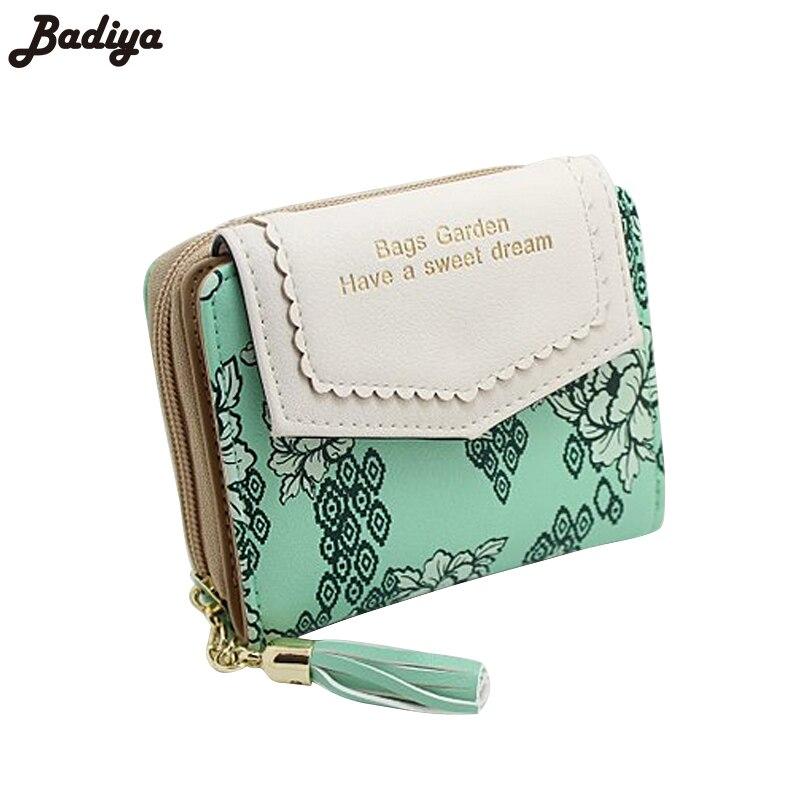 Vintage femmes Floral petit portefeuille doux femme sacs à main à deux volets fleur gland sac à main pour dame porte-cartes cadeau cartes courtes portefeuilles