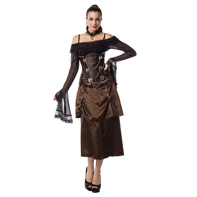 Brown Brocade Steampunk Corsé Deshuesado Acero Atractivo de Underbust Gótico Vestido Corsés Y Bustiers Burlesque Vintage Costume Plus Size