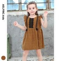Aelfriec Kids Summer Children Cute Lace Ruched Dresses Baby Girls Dress Trendy Plaid Retro Princess Fashion