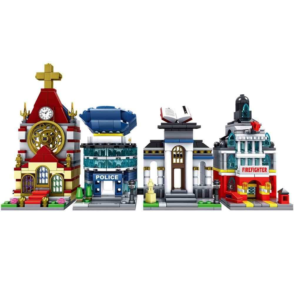 141 sztuk Mini City seria uliczna biblioteka kościelna straż pożarna cyfrowe klocki zabawki dla dzieci kompatybilne z JM201