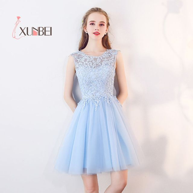 d87763a9ca0 Elegant Vestido 15 ano curto Light Blue Lace Homecoming Dresses 2019  Appliqued 8th Grade Graduation Dress Short Prom Dress. 1 order