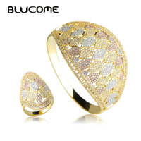 Blucome Luxury Wide Large Bangle Ring Set Wedding Party Big Bangles Jewelry Sets Full Rhinestones Copper