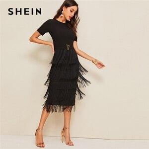 Image 4 - SHEIN Elegant Metal Button Detail Layered Fringe Black Pencil Dress Women High Waist Solid Short Sleeve Summer Slim Long Dresses