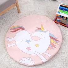 INS Baby Round playmat Soft Game Pad Cartoon Unicorn, Fox, wolf, Cactus Printed Kids Toys Play Mat Crawling Blanket Gym Mat