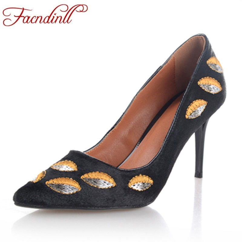 FACNDINLL women high heels pumps flock pointed toe women embroidery pumps ladies shoes thin high heel party dress ladies shoes miquinha flock pointed toe hollow out thin heel women sexy pumps spring autumn high heel shoes women casual party dress shoes