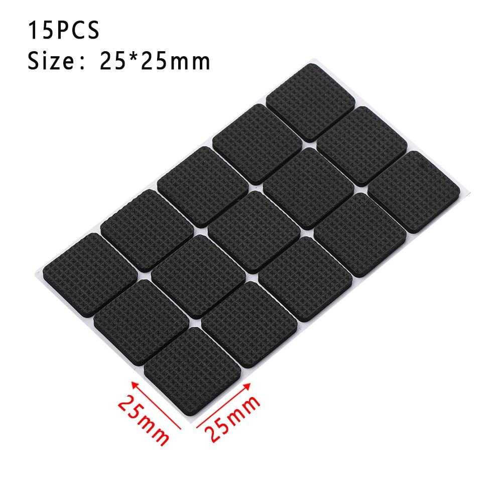 1/2/6/15/24PCS Soft Thickening Bumper Chair Fittings Self-adhesive Floor Protector Anti-slip Mat Anti Rub Furniture Leg Pads - Цвет: 25X25mmX15pcs