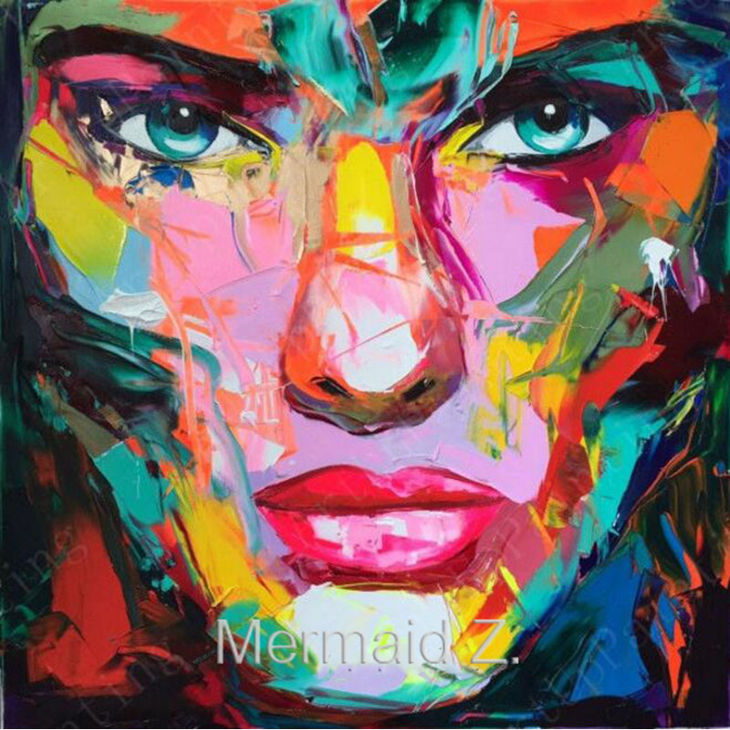 Nielly Francoise Art Work Hand Painted Oil Wall Moonlight Face Art Women Home Decoration Modern