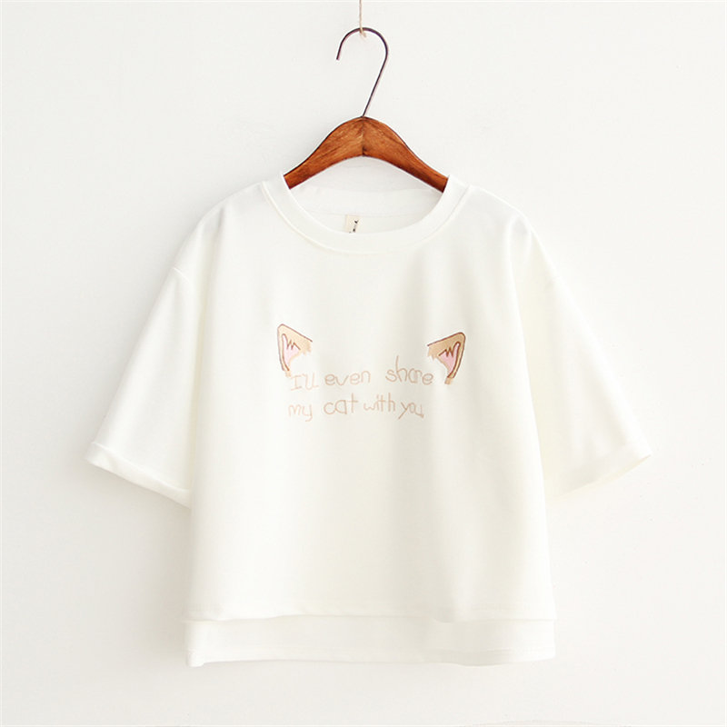 2018 Summer Women Printed Harajuku Cartoon Cat T Shirts Letter Embroidery Cotton Short Sleeve Casual Tee Ladies Hot Top DX619 13