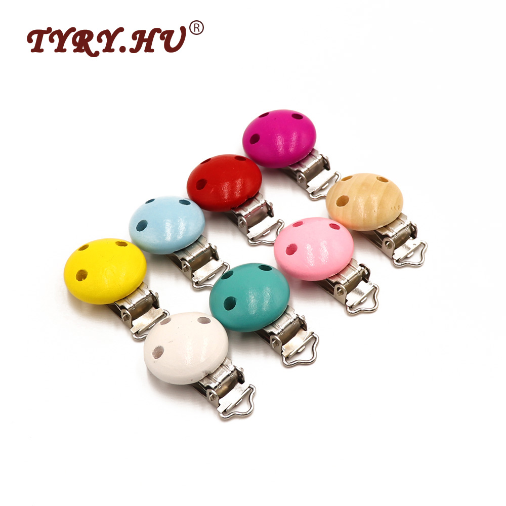 100pcs Wood Pacifier Clip Natural Wooden Baby Pacifier Charms Clips Holes Baby Safe toys DIY Dummy