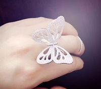 The new 925 Sterling Silver micro fashion jewelry inlaid CZ Butterfly Ring personality activities