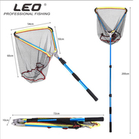 Large collapsible fishing landing nets fish net cast squid rubber coating network and stretching telescopic handle