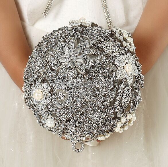 2016 New arrival Luxury Stunning brooch Crystal pendant bride hand Bridal wedding bouquet, free shipping!