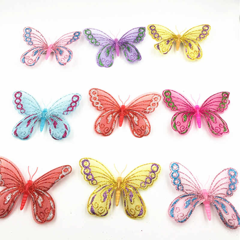 Romantic 6 pieces/lot Hanging Butterflies Curtain Butterfly Wedding Decorations For Baby Living Girl Room Home Decor Art Decals
