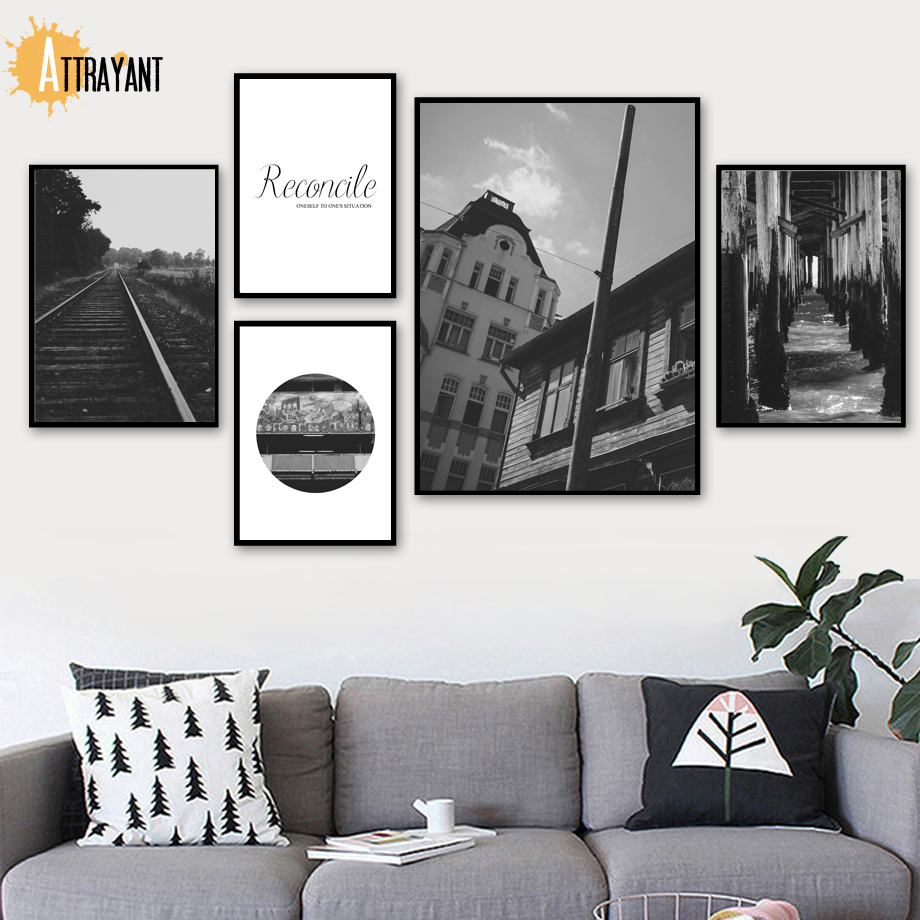 ATTRAYANT Railway House Pier Landscape Canvas Painting Posters And Prints Wall Art Canvas Pictures For Living Room Decoration