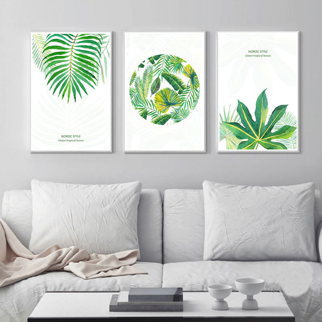 New Watercolor Green Tropical Canvas Paintings Nordic Poster Print Wall Art Pictures For Living Room Kitchen