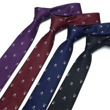 6CM Neck Tie Man Woman Polyester Tie Skull Pattern Groom Wedding Novel Necktie Business Neckwear Clothing Accessories TZ16102