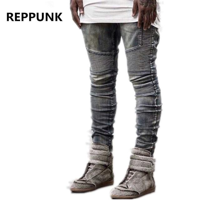 2018 marca Biker Jeans Mens Hip Hop botín stretch Hombre Pantalones de  algodón lavado elasticidad Skinny c954ca92650