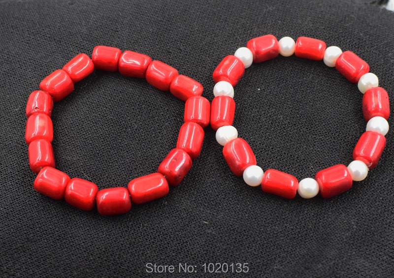 red coral pillar freshwater pearl round nature bracelet 7.5inch wholesale bead gift nature FPPJ