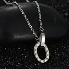 Eleple Titanium Stainless Steel Interlocking Circle Buckle Necklaces for Lady Fashion Micro Zircon Inlaid Chain Necklace S-N154