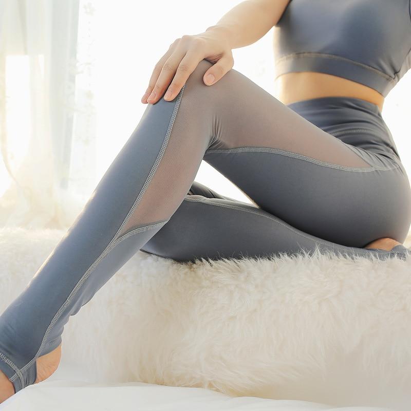 Imlario Women's Power Flex Crisscross Stirrup Tights Yoga Pants Tummy Control Mesh Workout Fitness Capris Pants Legging Slimming