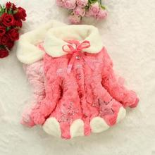 Girls  faux fox fur collar coat clothing with bow Autumn Winter wear Clothes baby Children outerwear dress jacket TMY45