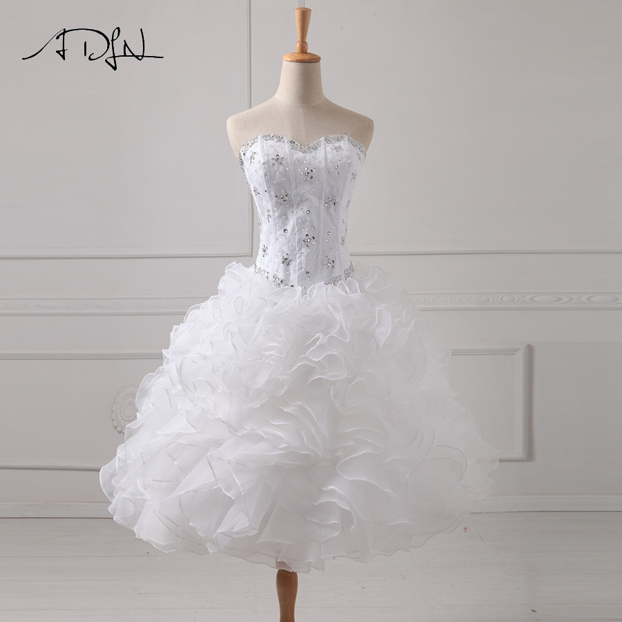 ADLN High Quality Sweetheart Sleeveless Ruffles Organza   Cocktail     Dresses   Beading Sequins Ball Gown Party   Dress   New Arrival