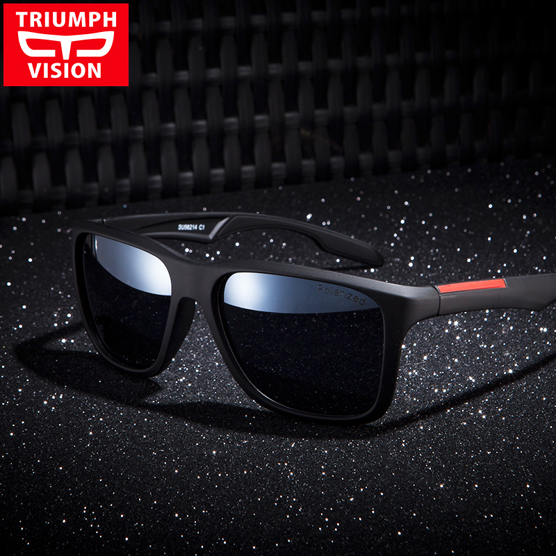 e125ad18d99 TRIUMPH VISION Sunglasses Men Redline Matte Frame Lunette Shades Brand  Designer Cool Driving Sun Glasses Oculos