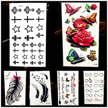 1PC Painless Water Transfer Temporary Tattoo Cross Designs HYF-001 Jesus Christ Peace Waterproof Removable Tattoo Stickers Women