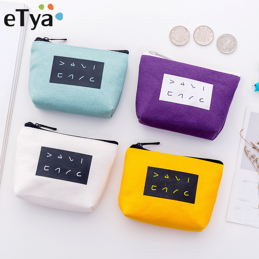 ETya Canvas Zipper Small Coin Purse Card Holder Wallet Female Purse Kids Cute Card Key Mini Purse Pouch Bag 16 Colors Available