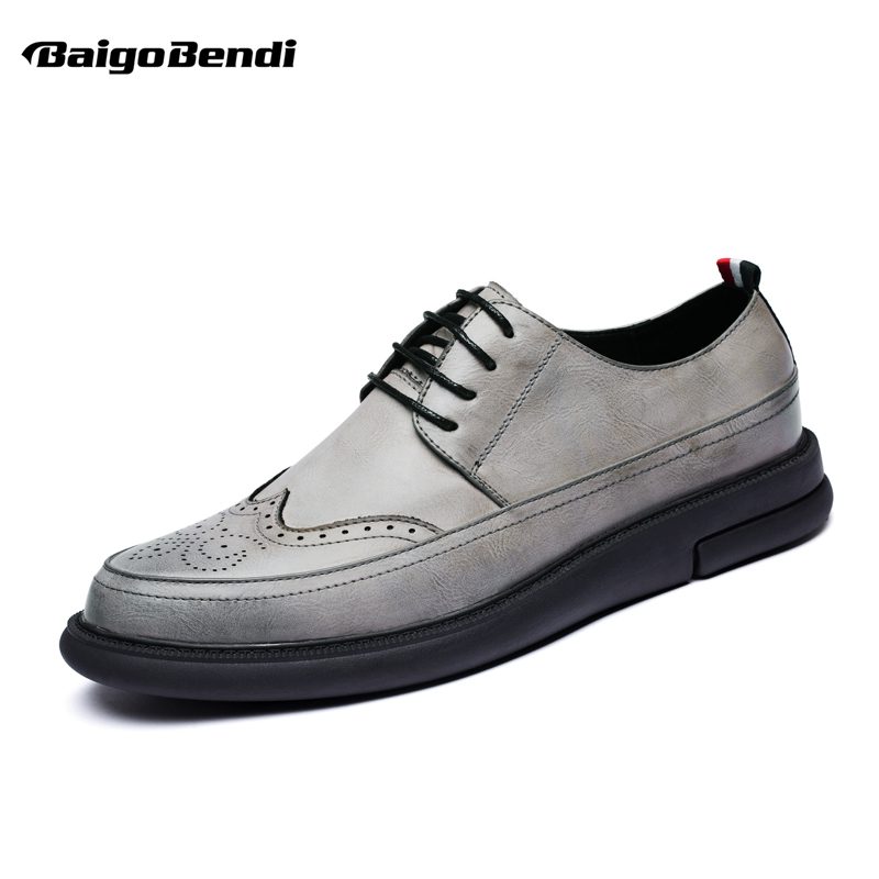 Retro Mens Casual Leather Carved Brogue Shoes Business Man Oxfords Man Wing Tips Dress Shoes Lace Up Wedding Shoes top quality crocodile grain black oxfords mens dress shoes genuine leather business shoes mens formal wedding shoes