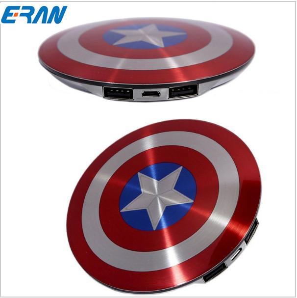 2016 Vengadores Capitán América Shield USB Cargador de Banco de la Energía 6800 mAh para todo el teléfono móvil con El envío libre Del Paquete