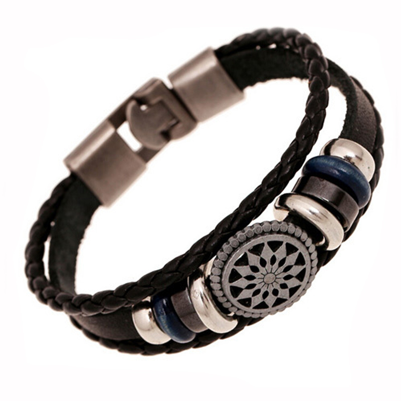 Handmade Jewelry Men Genuine Leather Bracelet Vintage Braided Charm Bracelets Bangles Korean Male Accessories 2015 Summer Style  -  Punk Co.,Ltd store