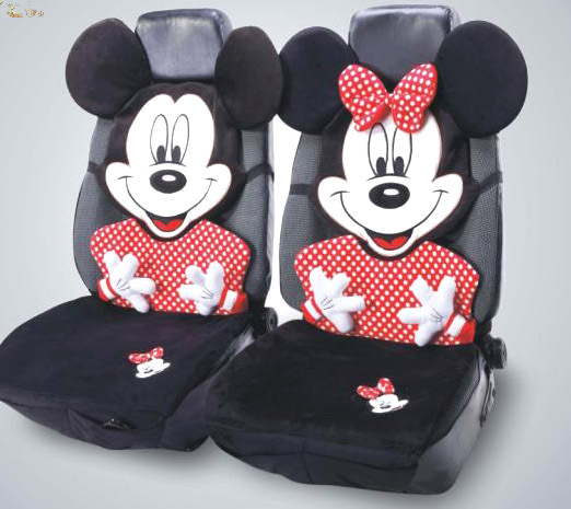 Cute Mickey Mouse Car Seat Covers Sets Universal Use Lovely Cartoon Front Rear Cushion