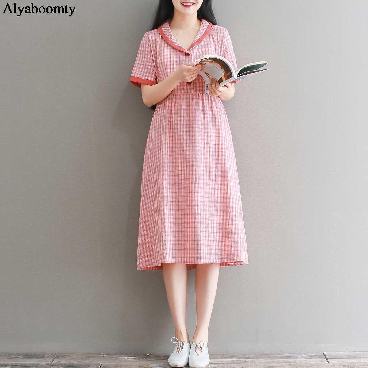Японский Мори девушка летнее женское клетчатое платье контрастных цветов пуговицы Повседневное платье элегантный стиль Винтаж Хлопок милое платье