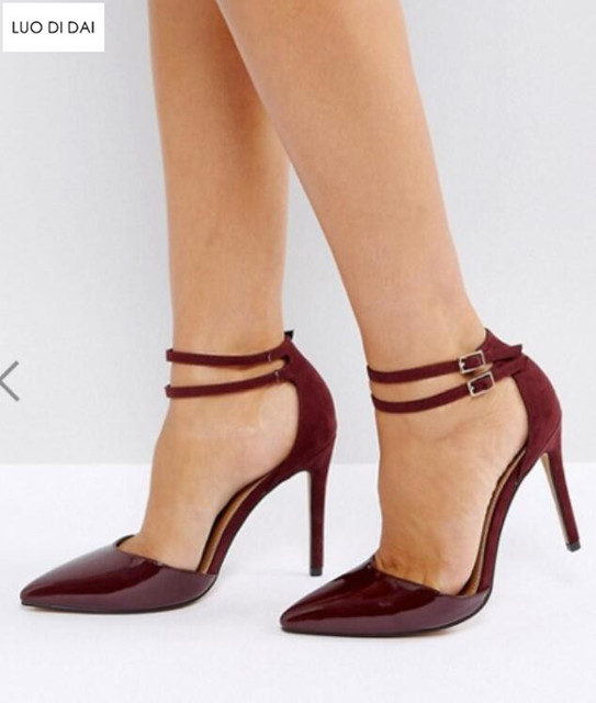 d8df2239852 2019 New arrival women patchwork high heels thin heel pumps party shoes  burgundy pumps point toe dress shoes patent leather