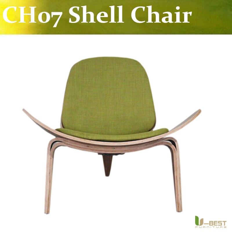 Free shipping U-best balcony shell curved wooden chair Carl Hansen Son CH07 shell chair free shipping three legged shell chair