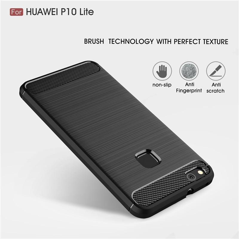 Huawei P10 Lite Durumda Huawei P10 Lite Kapak TOMKAS Moda Silikon Telefon Kılıfları Huawei P10 Lite 2017 TPU Karbon Fiber doku