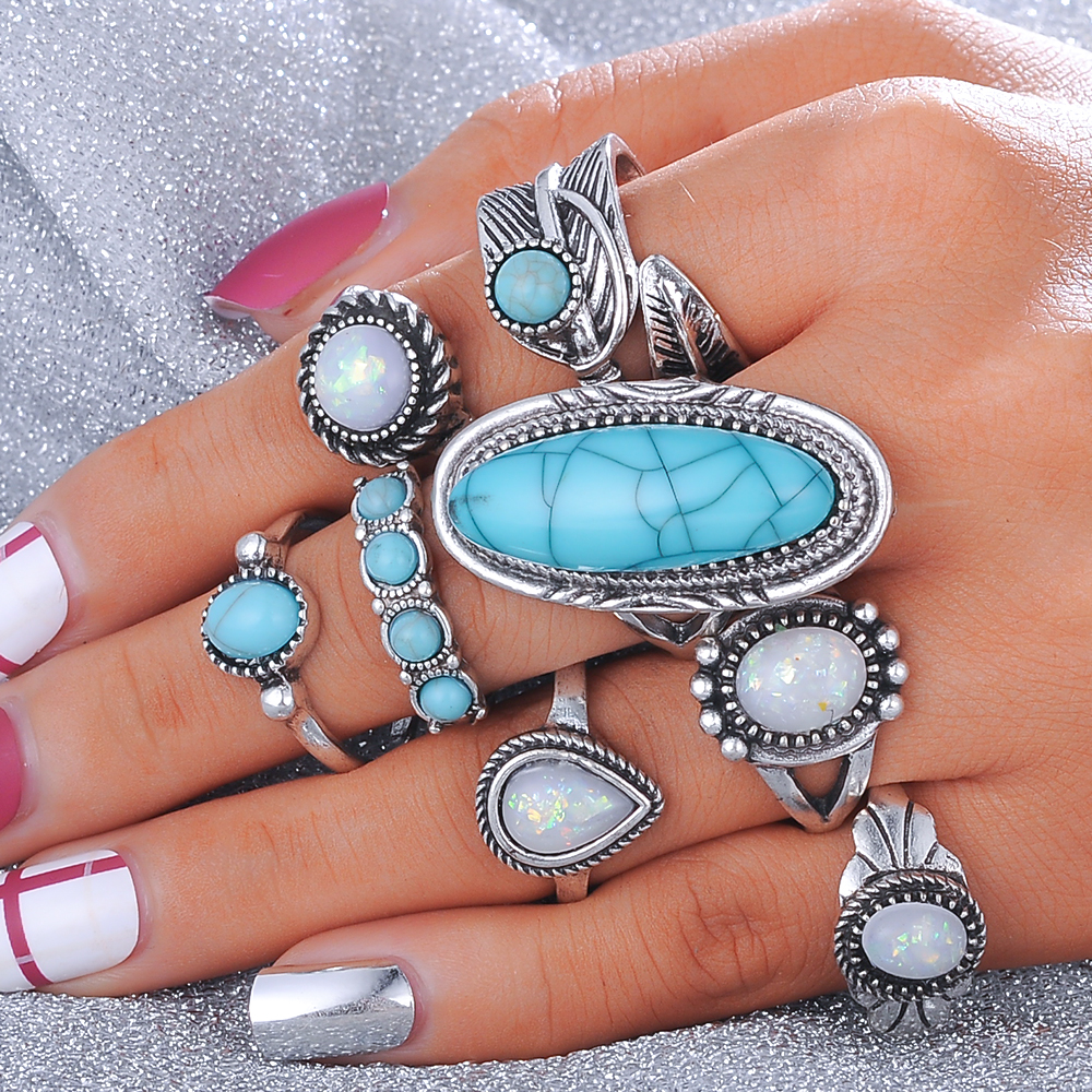 Beagloer 8PCS/Set Antique Silver Color Bohemian Midi Ring Set Vintage Steampunk Anillos Knuckle Rings For Women Boho Jewelry