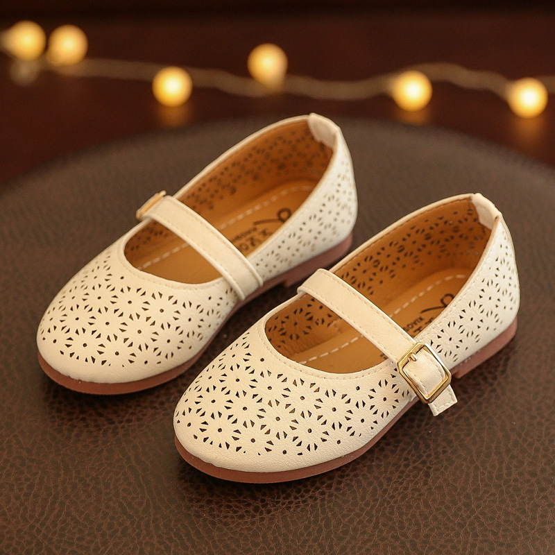 Spring Kids Baby Girls Shoes Cut-Out Leather Shoes Children School Princess Shoes Infant Fashion Sneaker Shoes