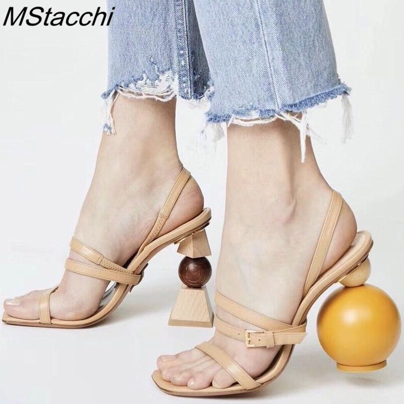 MStacchi Strappy dziwne obcas Sandały gladiatorki kobiety Open Toe klamra buty na wysokim obcasie asymetryczne Building Block obcas szpilki w Wysokie obcasy od Buty na  Grupa 1