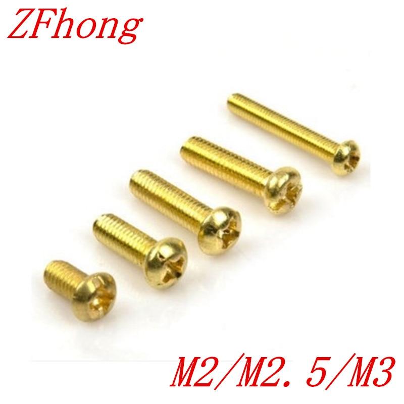 100pcs DIN7985 M2 M2.5 M3 Brass Round Pan head machine screws m3 brass phillips pan head machine screw