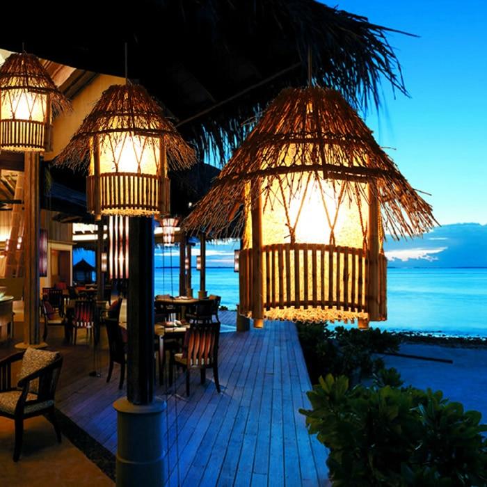 Bamboo Rattan pendant lights southeast restaurant lighting creative garden balcony aisle home decorative lighting lamps ZA rattan aisle study teahouse bamboo