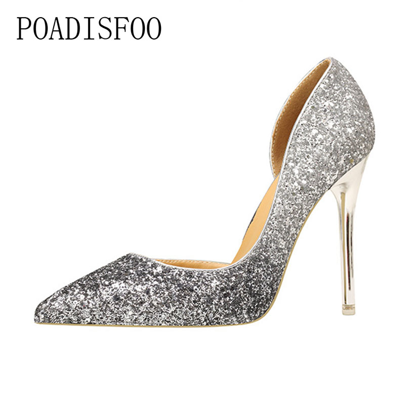 POADISFOO 2018 women pumps Sexy Thin High Heel Shallow Mouth sharp-pointed Sequined Single women Shoes Night Club .ZWM-9616-55 burgundy gray saphire blue pink women dress party career work shoes flock shallow mouth stiletto thin high heel pumps