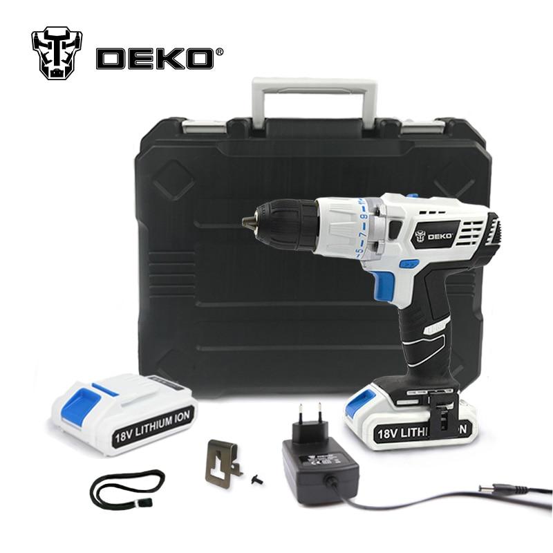 DEKO GCD18DU3 18V DC DIY Mobile Power Supply Lithium-Ion Battery Cordless Drill Power Drill Impact Drill Electric Drill Set 3 7v lithium polymer battery 925593 5200mah mobile power tablet pc diy