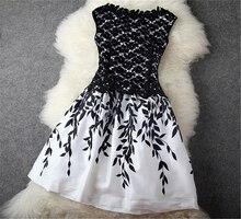 2016 Fashion Sexy Women Summer Dress Chiffon Dress Elegant Sleeveless O-neck Embroidery Lace vestidos Large Size Bottoming Dress