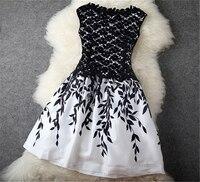 2016 Fashion Sexy Women Summer Dress Chiffon Dress Elegant Sleeveless O Neck Embroidery Lace Vestidos Large