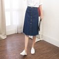 2017 new summer style vintage jeans skirt A-line jeans high waist button denim skirt femme denim skirt washing color jeans