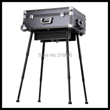 Heavy duty Professional Trolley makeup case with lights, mirror, PVC cosmetic makeup station studio